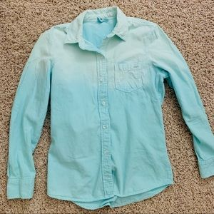 Roxy ombre blue button down shirt size small